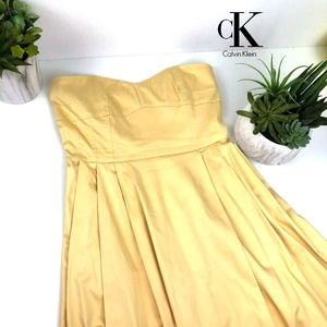 Yellow Calvin Klein Strapless Dress Size 8